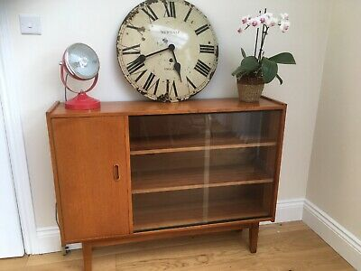 Vintage Retro Mid Century Teak Bookcase Sideboard / Display Cabinet On Legs
