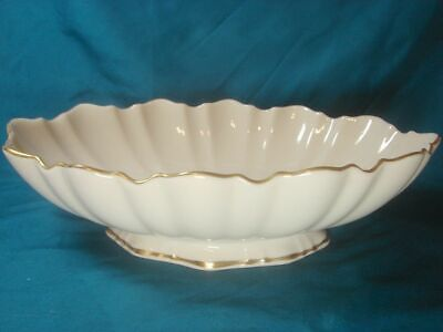 "Lenox China Symphony Oval Footed Centerpiece Serving Bowl 10.5"" Ivory Gold USA"
