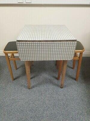 Vintage Retro 1950s 1960s Blue White/Grey Formica Drop Leaf Kitchen (Table Only)