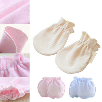 3 Pairs Anti Scratch Gloves Newborn Baby Solid Elastic Strap Mittens Portable