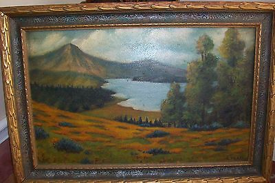 Antique ORIGINAL OIL ART PAINTING~E.Platt~RARE Mission Deco Frame Cadillac Maine