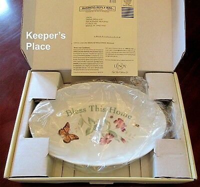 Lenox Butterfly Meadow BLESS THIS HOME Oval Tray Serving Bowl Louise Le Luye New