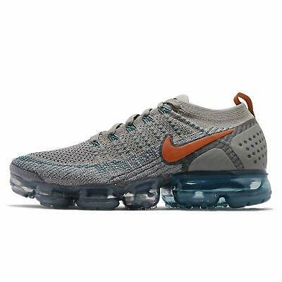 Nike Air Vapormax Flyknit 2 Mens Size 9 Gray Orange Light Silver Blue 942842 011