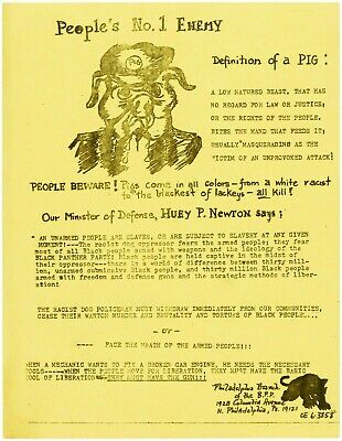 Original Black Panthers Party Handbill PEOPLES NO. 1 ENEMY DEFINITION OF A PIG