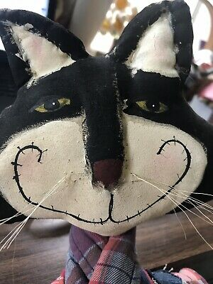 Primitive Folkart Black Kitty Cat doll Fishing 40 inches Cheshire Artist made