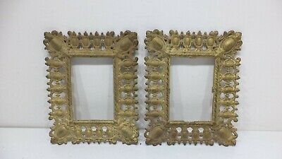 Pair Set Cast Iron Picture Photo Frames Ornate Gold Antique Ornate 2 Victorian