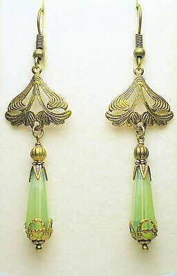 Art Nouveau Art Deco Style Antique Brass Czech Green Opal Drop Earrings