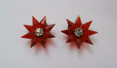 BN Vintage 1930's Deco Pair of Red & Clear Facetted Glass Dress Clips  Deadstock