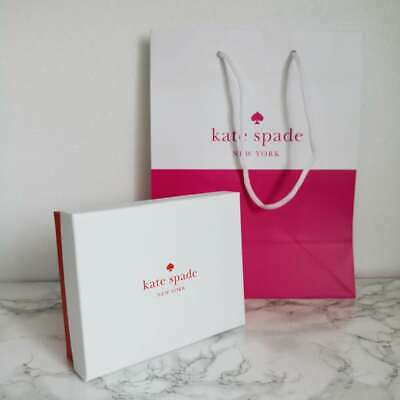 "New Authentic By Kate Spade Retail Gift bag 10"" x8"" + Gift Box 5.5""x4.25"" x 1.7"""