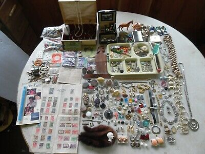 11+LBS Vintage Junk Drawer Lot/Old Items Stamps Jewelry Collectibles Findings
