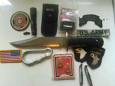 Junk Drawer Lot-Knife, patches, pins, clips, flashlight, NEW