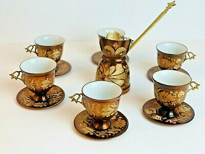 VINTAGE COPPER / BRASS COFFEE ANTIQUE Handmade Set 6 pc Cups & Coffee Maker Pot