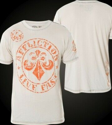 Men's Affliction Divio Dare SS Tee A13426 Beige Size LARGE - BRAND NEW!!