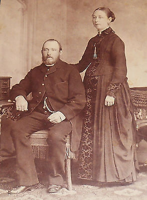 ANTIQUE CABINET PHOTO ELEGANT COUPLE FROM SCHLESWIG GERMANY 1880-1890s