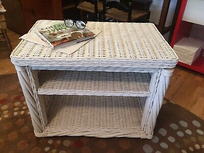 Vintage Antique Old White Wicker Rattan Swivel Top Rolling Nightstand End Table