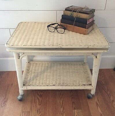 Vintage Antique Old White Wicker Rattan Swivel Top Rolling End Table Nightstand