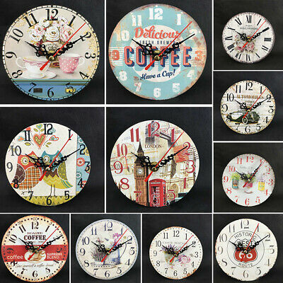 Retro Vintage Wooden Wall Clock Shabby Rustic Kitchen Home Antique Timer New