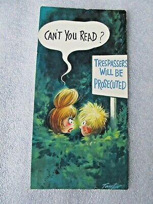 Vintage 1970's Bamforth SLIM COMIC Postcard, Can't You Read # C20