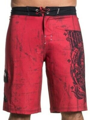 ccd41c2a08 AFFLICTION Men Board Shorts Swim Trunks A FRAME Fight RED BLACK MMA UFC  Size 31