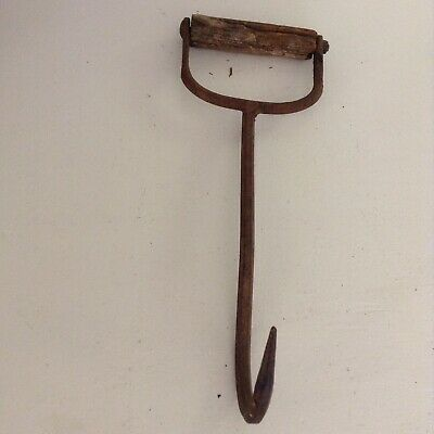 Antique Hay Bale Metal Wood Handle Hook Decorative Farm Tool 12 1/2 in
