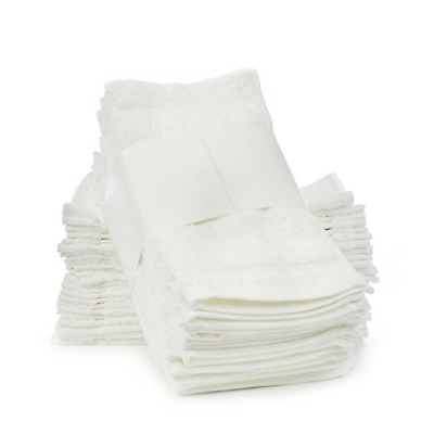 Washcloths 24 Pack For Face Baby Kids and Bathroom Towel Bulk Set White Cotton