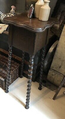 Beautiful Tall Barley Oak Plant Stand Or Side Table -fantastic Condition