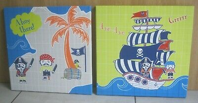 """Next Childs Pirate Ship Treasure Island Canvas Wall Hanging Pictures x2 18 x 18"""""""