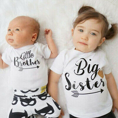 AU Matching Outfit Big Sister T-shirt Little Brothes Romper Bodysuit Clothes Set