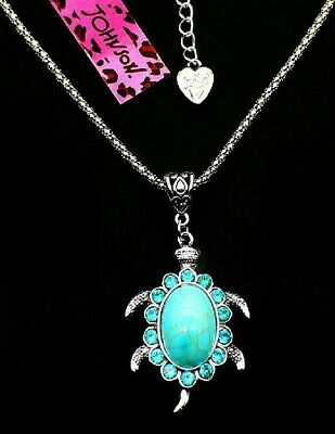 Betsey Johnson Turquoise Turtle Silver Pendant Chain Necklace Free Gift Bag