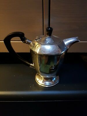 Vintage Silver Plated Art Deco Teapot With Scroll Handle EPNS Six Sided Unusual