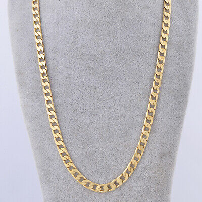 """Mens Cool Real Link Cuban Chain Long Heavy Necklace 24"""" 7mm gold filled"""