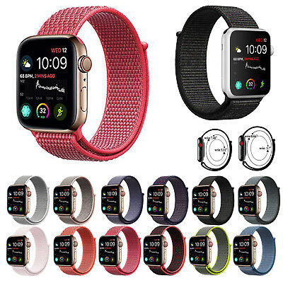 Woven Nylon Sport Loop Band Strap Bracelet For iWatch Apple Watch Series 4/3/2/1