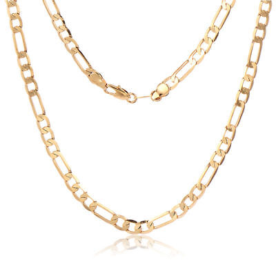 Mens 18K yellow Gold Plated Hip Hop Figaro Cuban Link Chain long Necklaces