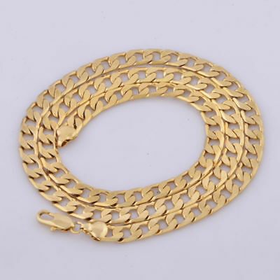 """Cool 24"""" 18K yellow Gold Filled men jewelry vintage long Necklace Cuban Chain"""