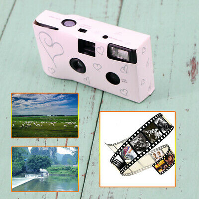 1PCS HEARTS DISPOSABLE 36exp WEDDING Bridal CAMERA WITH FLASH AND TABLE CARD