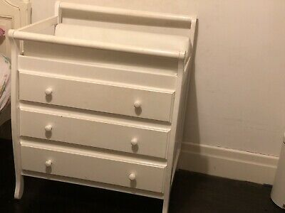 Sleigh Style Baby Change Table With Drawers And Mattress