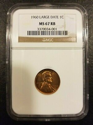 1960 Large Date 1c Penny NGC MS 67 RB - POPULATION 2