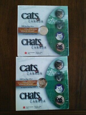 1999 Cats Of Canada 2x Silver 50c Coin Set, No Reserve!