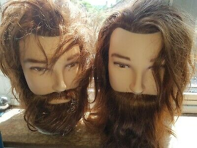 """PM Male 100% Real Hair Beard Hairdressing 12"""" Training Head Barber Mannequin +C"""