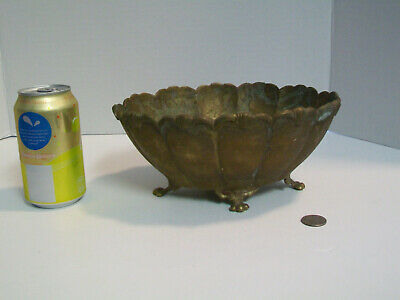 Vtg Flared Scalloped Solid Brass Footed Cachepot Planter Jardiniere Bowl