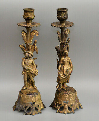 Late C19th Pair FRENCH GILT Spelter CANDLESTICKS Grape Pickers