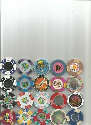 (20) $5, dunes jackpot,sahara CHIPS obsolete casino chips las vegas nv lot