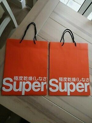 SUPERDRY X 2 Carrier Bags 38 x 30 cm's Rope Handles Used Once Good Condition