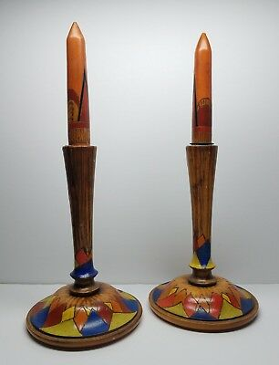 Antique Polychrome Arts & Crafts Wood Candlesticks w/Removeable Wooden Candles
