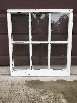 "Antique Vintage Wood Window Rustic Farmhouse Wedding Decor Art 28""x27"", 6 Pane"