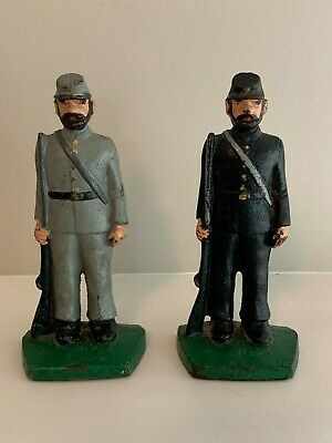 Antique Cast Iron Union & Confederate Civil War Soldier Bookends