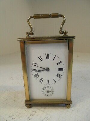 Antique Victorian French Brass Alarm Carriage Clock