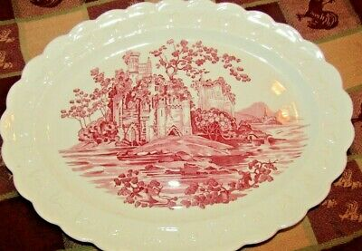 Vintage Taylor Smith Taylor Red/Pink White Castle China Platter Usa Excel.