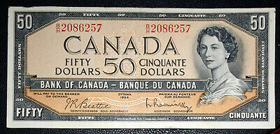 OFF-CENTRE Bank of Canada 1954 50 Dollar Banknote Beattie Rasminsky B/H 2086257
