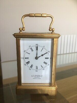 Vintage 8 Day Carriage Clock by J W Benson, 5 Glass